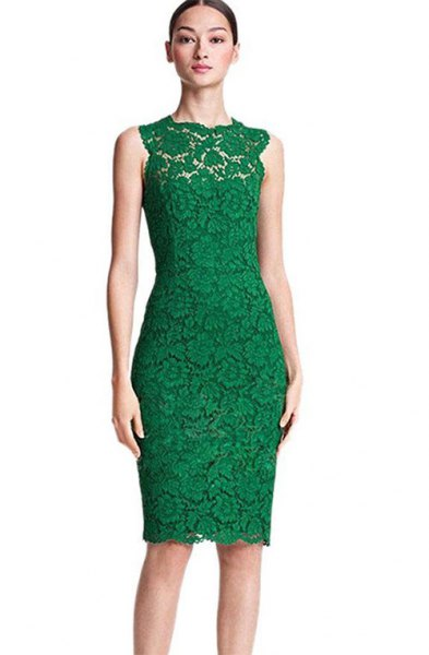 olive green sleeveless lace bodycon midi dress