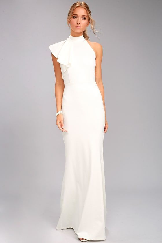 one shoulder maxi dress white elegance