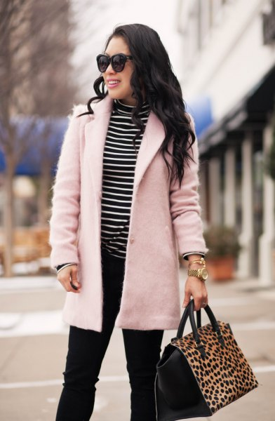 pale pink wool coat black and white striped mock neck tee