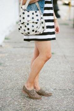 pink polka dot purse denim jacket striped mini dress