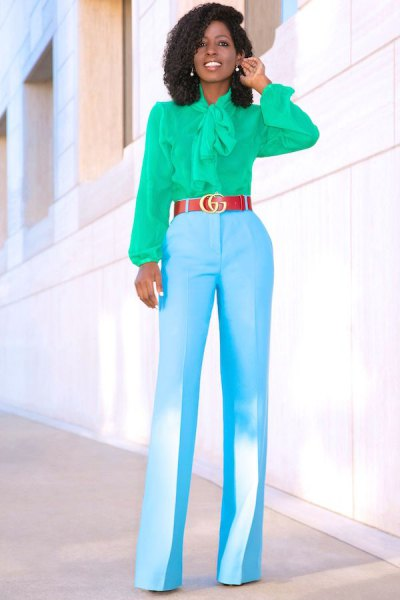 pink ribbon bow blouse with sky blue high waisted wide leg trousers