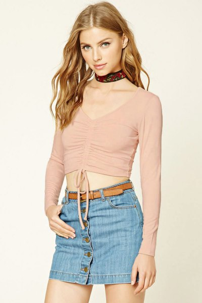 pink v neck ruched top with denim button front mini skirt