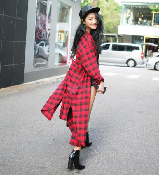 red and black plaid maxi flannel shirt dress leather baseball cap