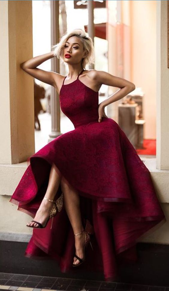 red high low dress glamour