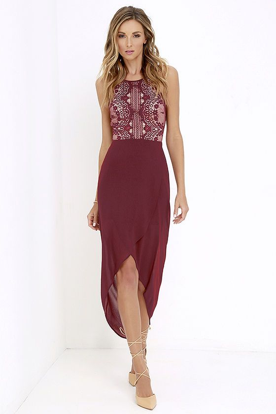 red high low dress lace