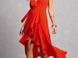 red high low dress ruffle