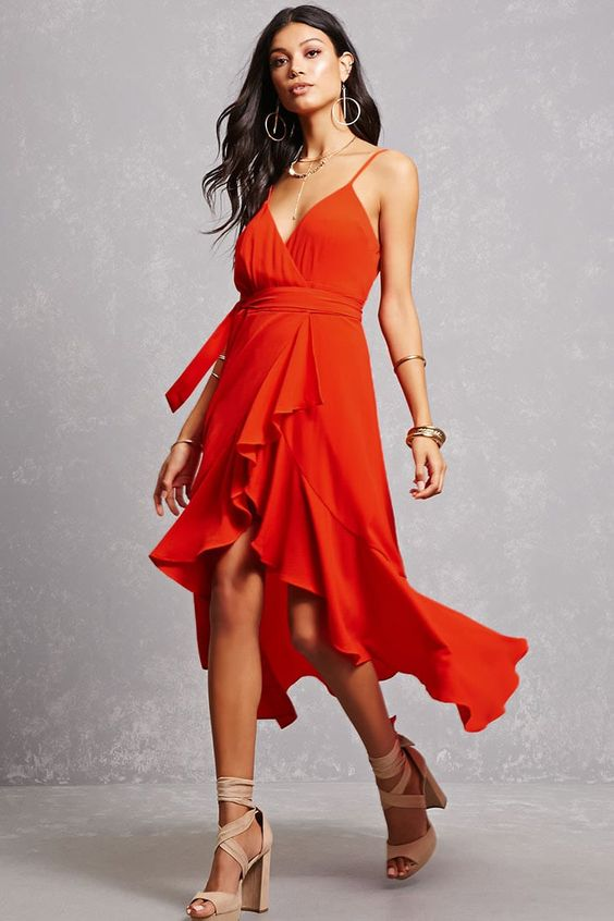 red high low dress ruffle