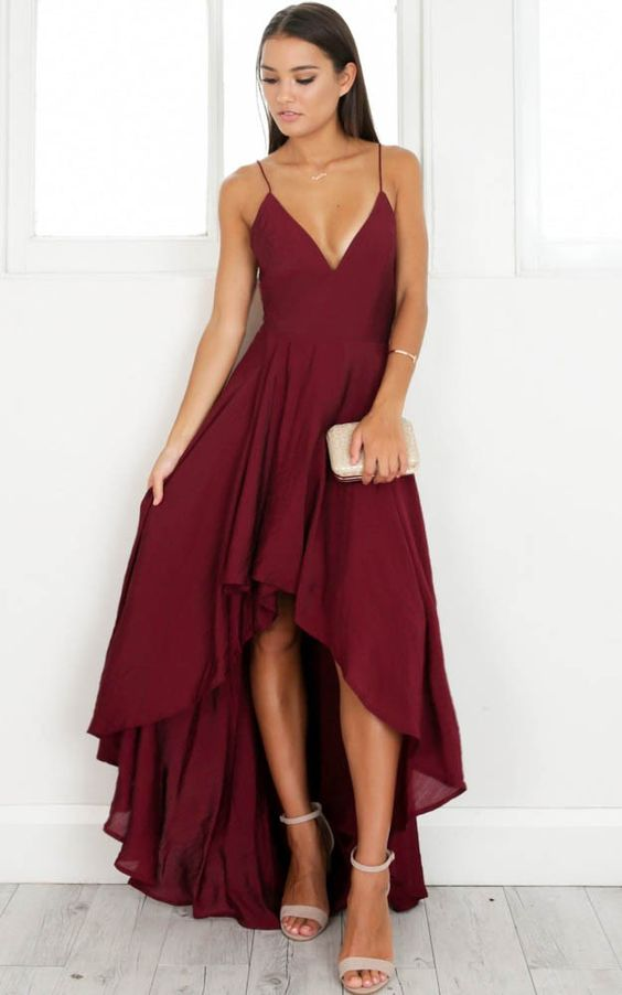 red high low dress v neck