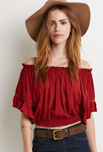 red off the shoulder cropped peasant top floppy hat