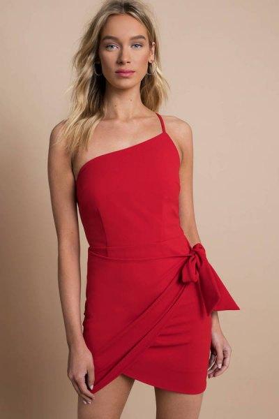 red one shoulder spaghetti strap mini wrap dress