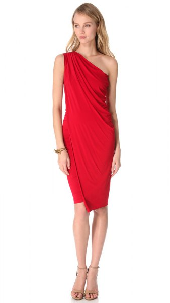 red sheather one shoulder knee length dress