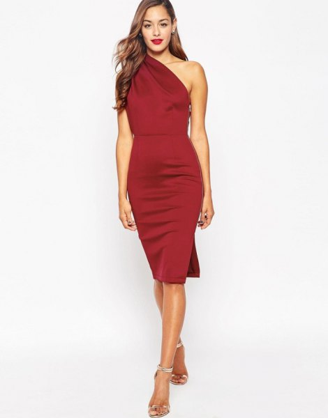 red silk bodycon one shoulder midi skirt with silver heels