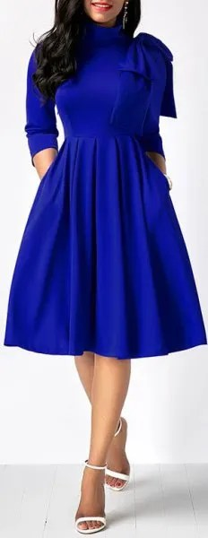 royal blue mock neck midi flared dress