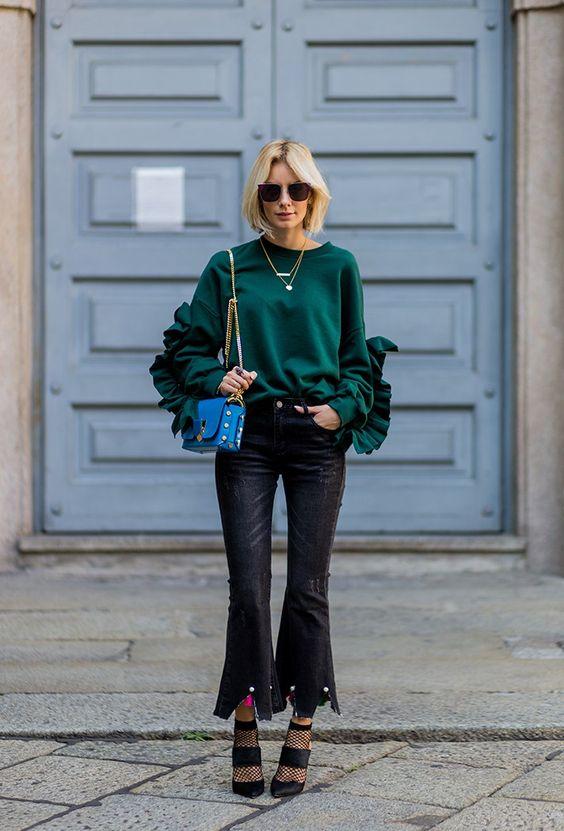 ruffle sleeve blouse emerald green