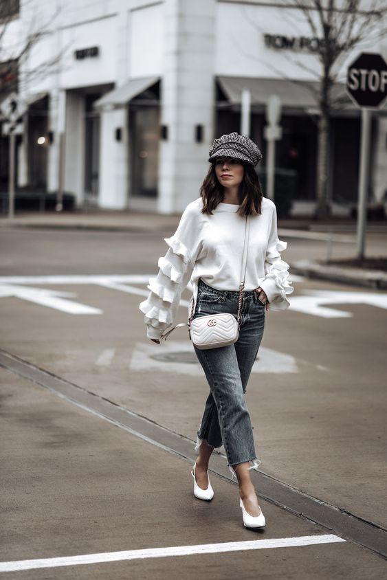 ruffle sleeve blouse tweed