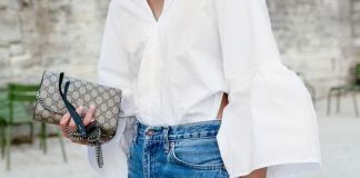 ruffle sleeve blouse white blue jeans