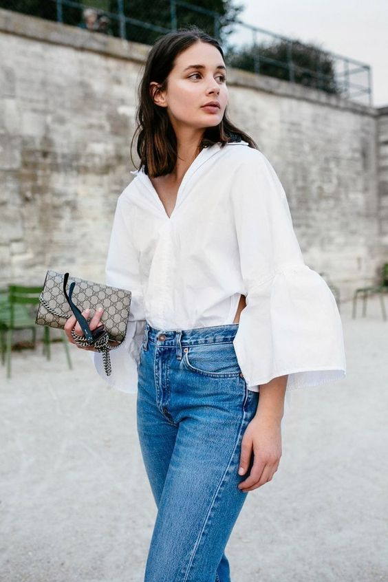 ruffle sleeve blouse white blue jeans