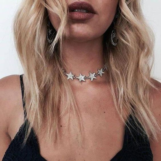 silver choker necklace stars