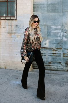 silver sequin long sleeve sweatshirt black flared pants