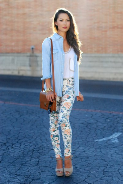 sky blue chambray shirt with white floral skinny pants