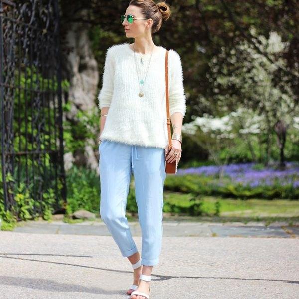 sky blue elastic waist straight leg jeans