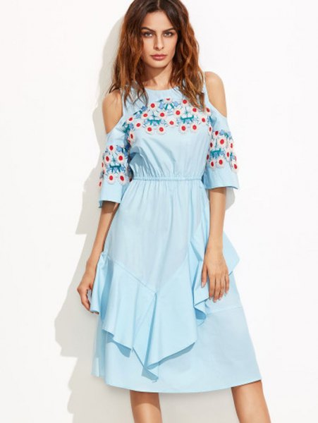 sky blue floral embroidered ruffle midi flared dress