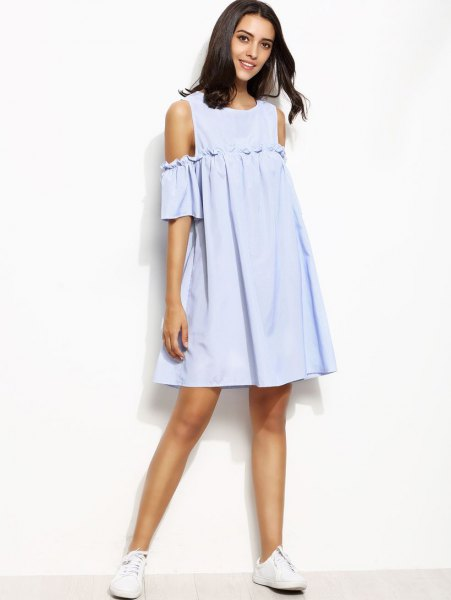 sky blue mini swing dress with white sneakers