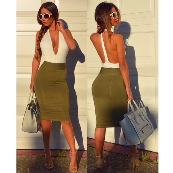 two colored bodycon midi dress