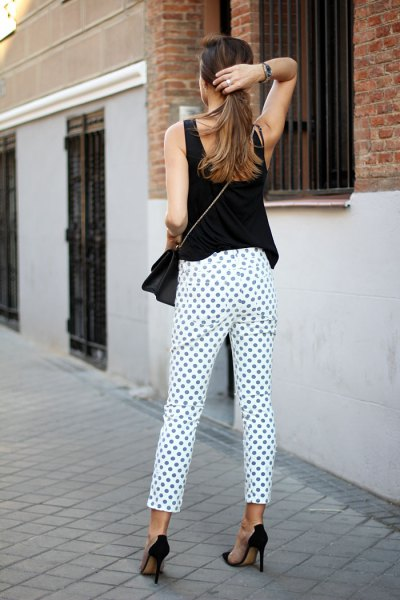 white and purple polka dot pants with black sleeveless top