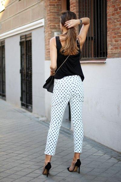 white and purple polka dot pants with black sleeveless top