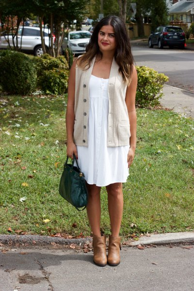 white babydoll mini dress blush pink buttoned sweater vest