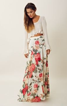 white bell sleeve crop top floral printed floor length bohemian skirt