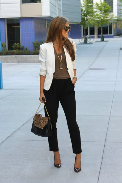 white blazer with grey tee black capris