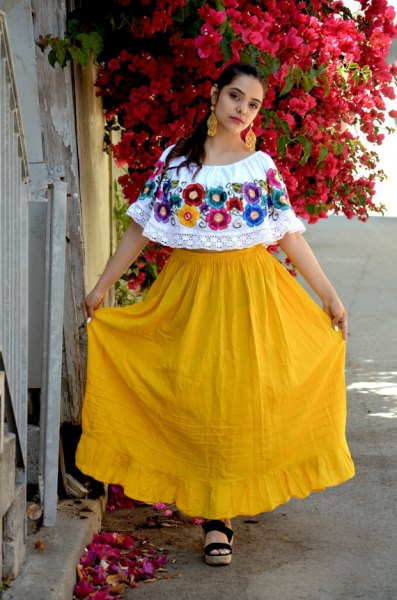 white boat neck mexican peasant blouse yellow high waisted flared maxi skirt