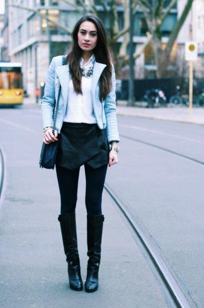 white chiffon button up shirt black velvet skort