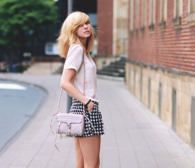 white chiffon t shirt checkered mini shorts
