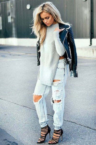 white chunky sweater with ripped jeans quilted leather coat