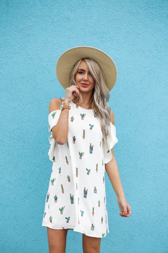 white cold shoulder dress cactus