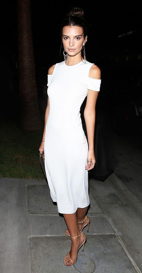 white cold shoulder dress classy