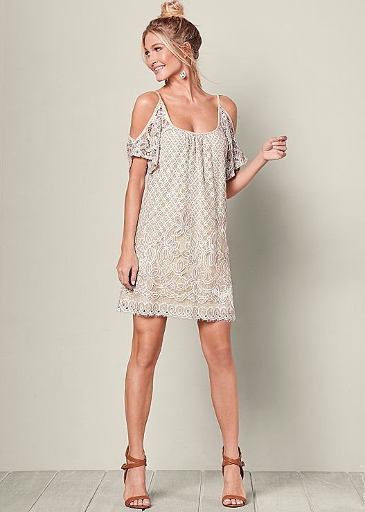 white cold shoulder dress lace