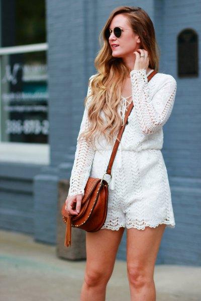 white crochet lace long sleeve romper