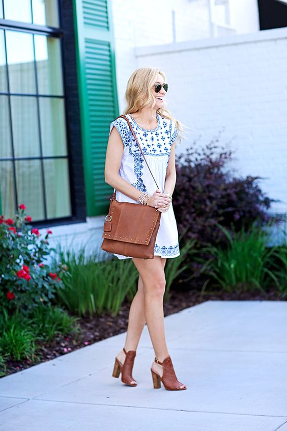 white embroidered dress blue brown