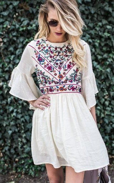 white embroidered dress linen