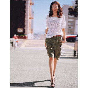 white half sleeve crochet sweater army green long cargo shorts