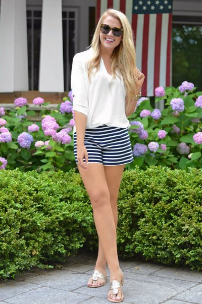 white hall sleeve polo shirt striped shorts