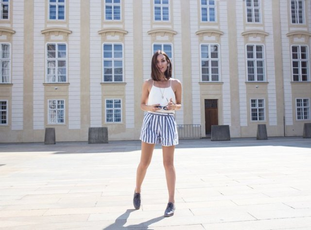 white halter top blue and white striped shorts