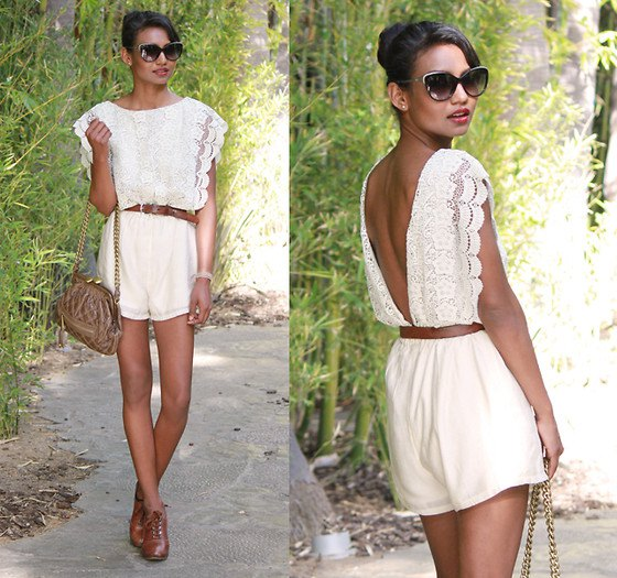 white backless lace romper
