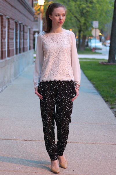 white lace blouse black polka dot pants