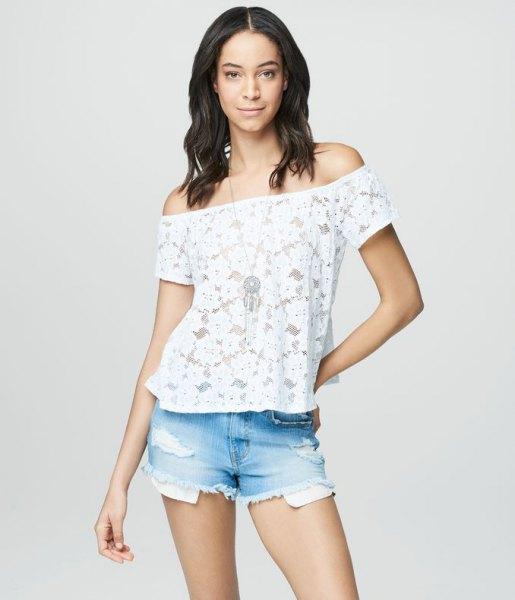 white lace off shoulder peasant top light blue denim shorts