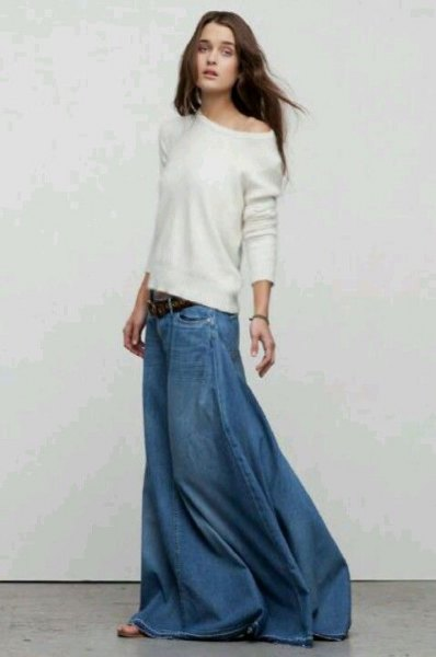white one shoulder relaxed fit sweater with floor length denim skirt